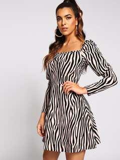 Gigot Sleeve Zebra Print Dress