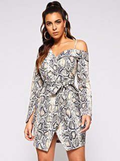 Collared Asymmetric Shoulder Snakeskin Wrap Dress
