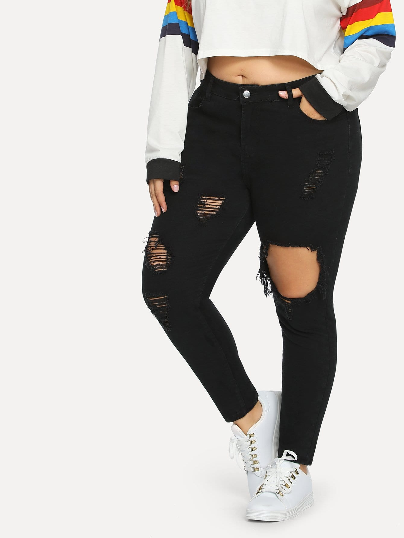 Купить Рваные однотонные джинсы размера плюс, Franziska, SheIn