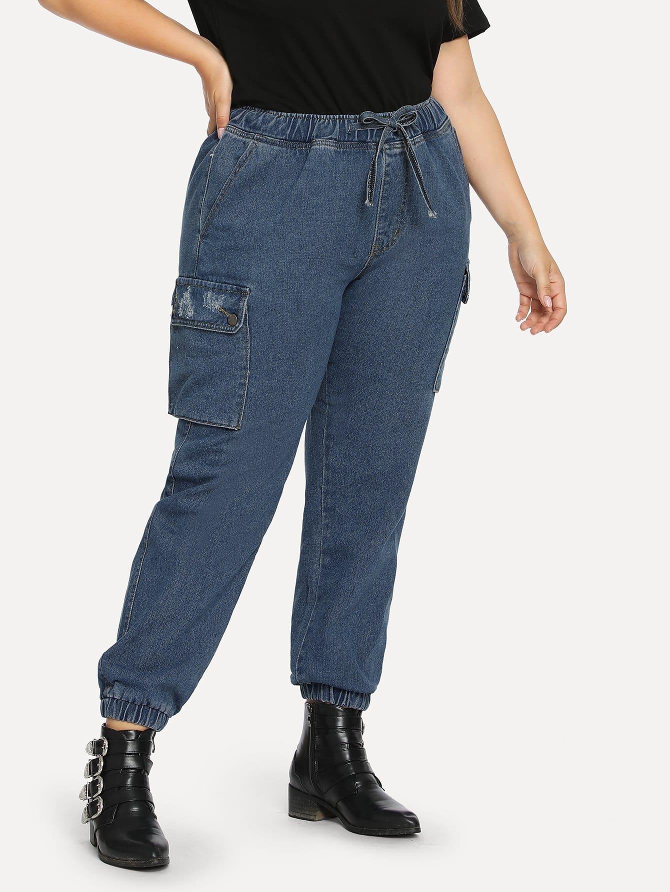 Купить Джинсы с карманом с эластичным низом размера плюс, Franziska, SheIn