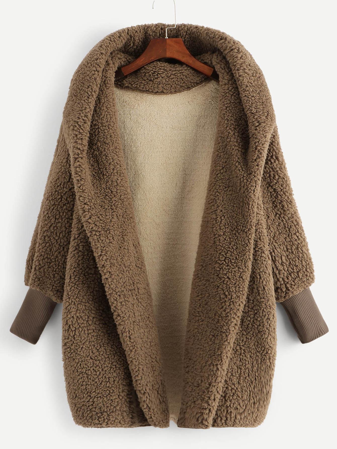 Фото - Однотонная куртка тедди с капюшоном и запахом от SheIn цвет желтовато бурый
