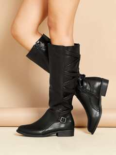 Lattice Detail Side Buckle Knee High Riding Boots