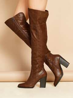 Almond Toe Crinkle Thigh High Stacked Heel Boots