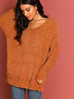 Fuzzy Knit Round Neck Pullover Sweater