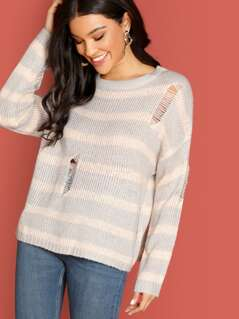 Striped And Distressed Pullover Knit Sweater