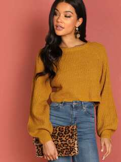 Puff Sleeve Rib Knit Pullover Crop Sweater