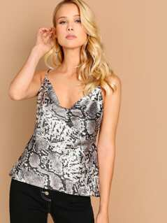 Snake Printed Cowl Neck Cami Top