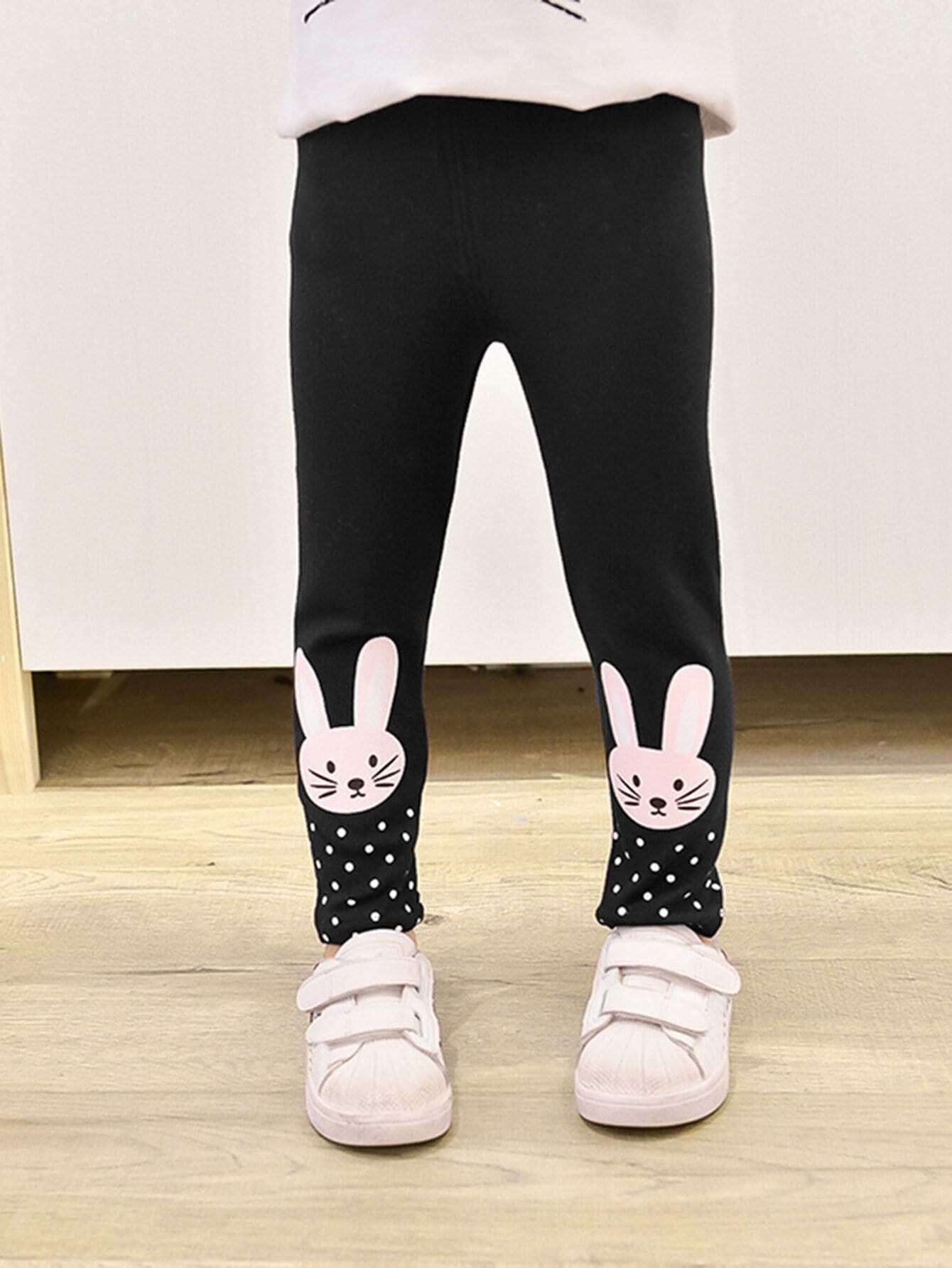 Купить Брюки в горошек с принтом кролика для маленьких девочек, null, SheIn