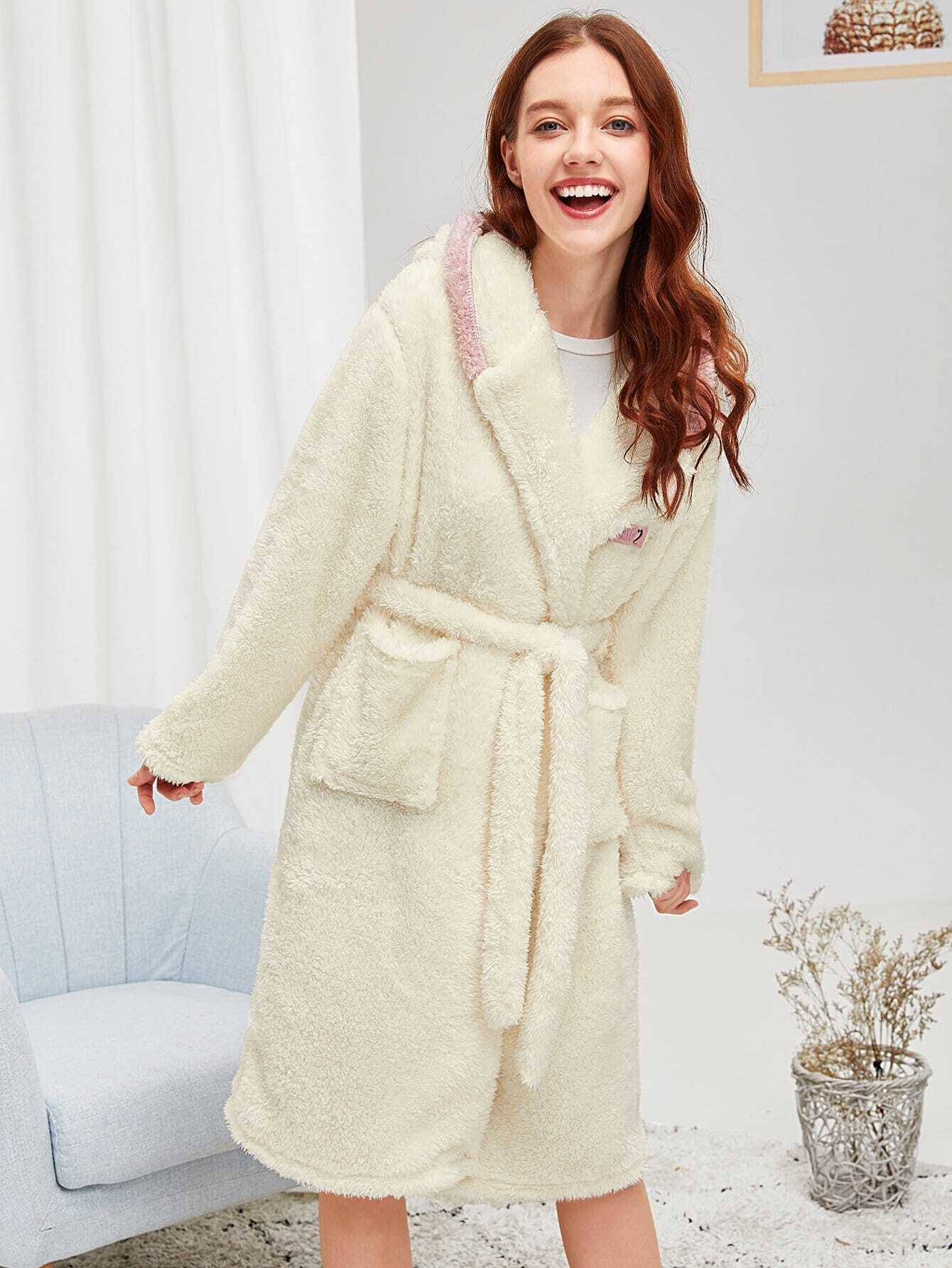 Купить Пушистый халат с поясом и украшением ушей кролика, Poly, SheIn