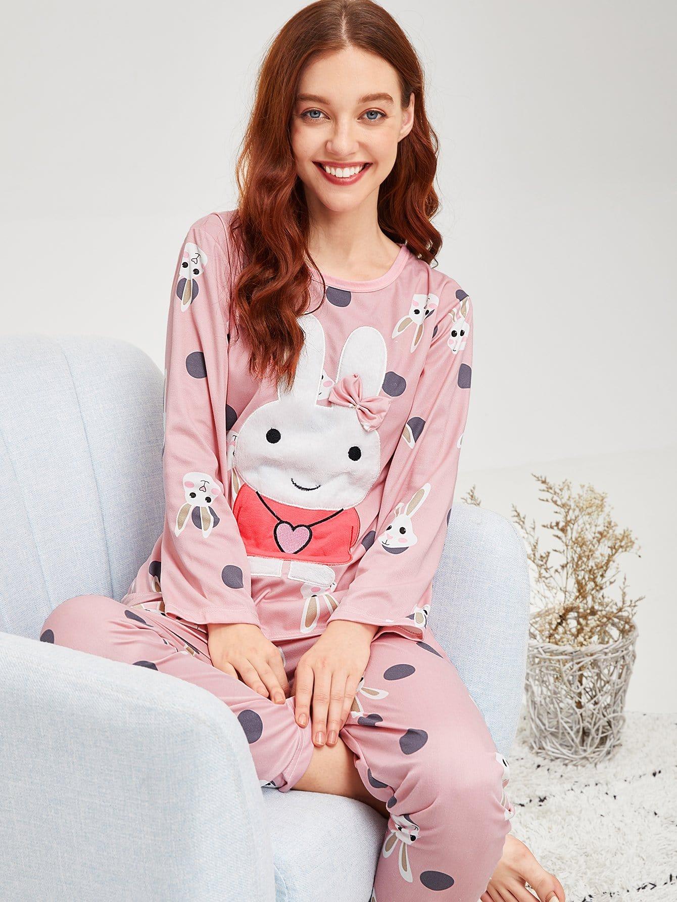 Купить Пижама в горошек с принтом вышитого кролика, Poly, SheIn