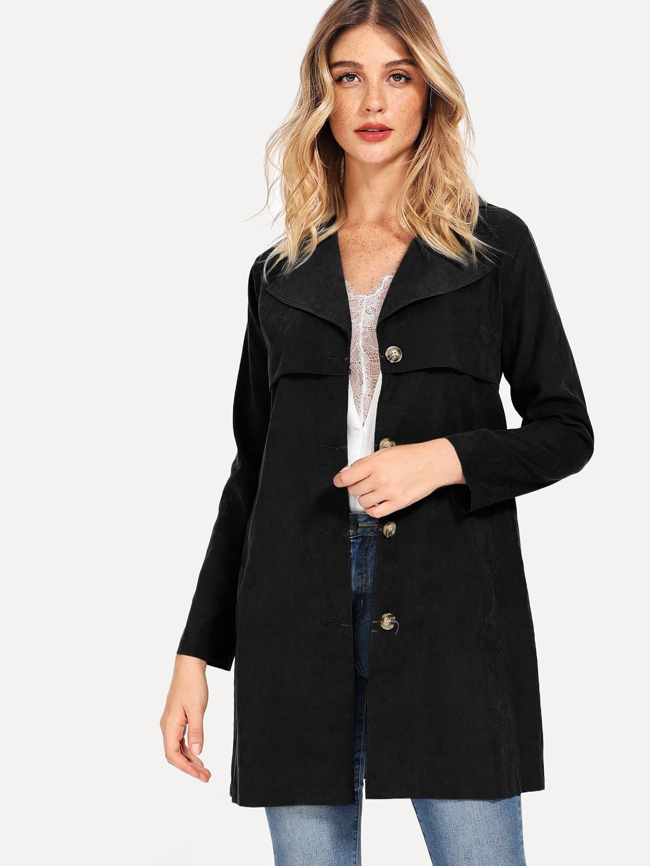 Купить Однобортное пальто с завязкой на талии, Nathane, SheIn
