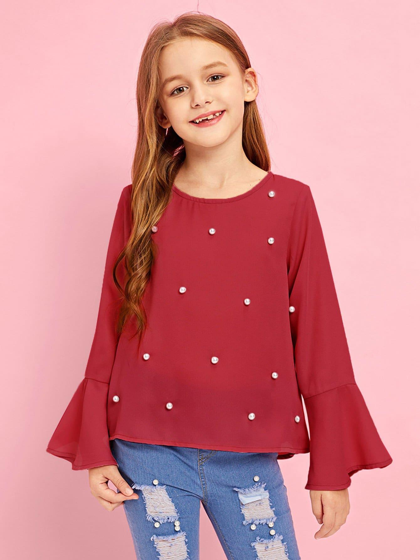 Купить Для девочек блузка с оборками рукавами с жемчугами, Sashab, SheIn