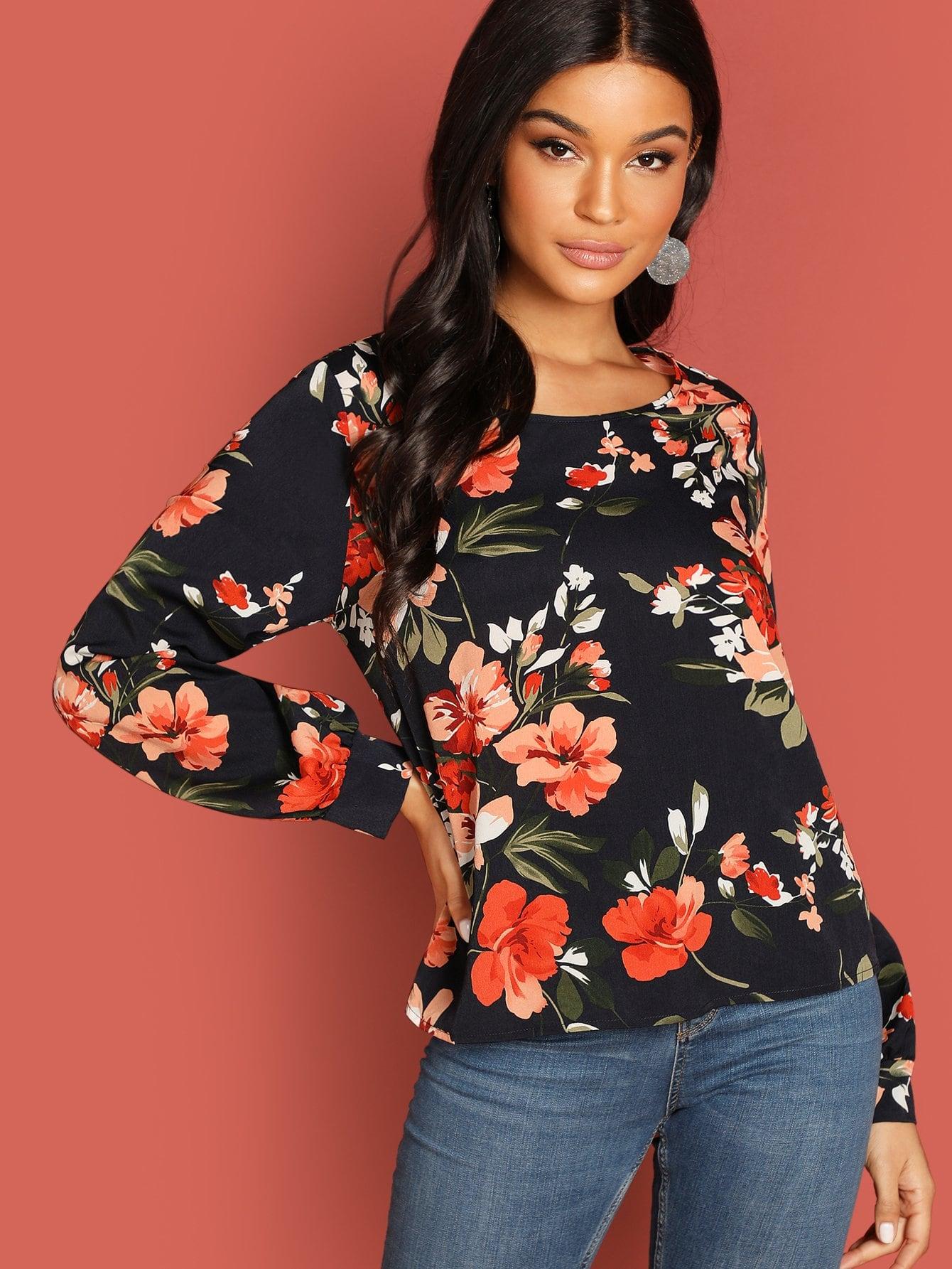 Фото - Цветочная блузка с круглым вырезом от SheIn цвет многоцветный
