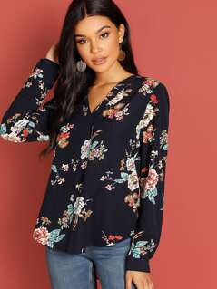 V-Placket Curved Dip Hem Floral Blouse