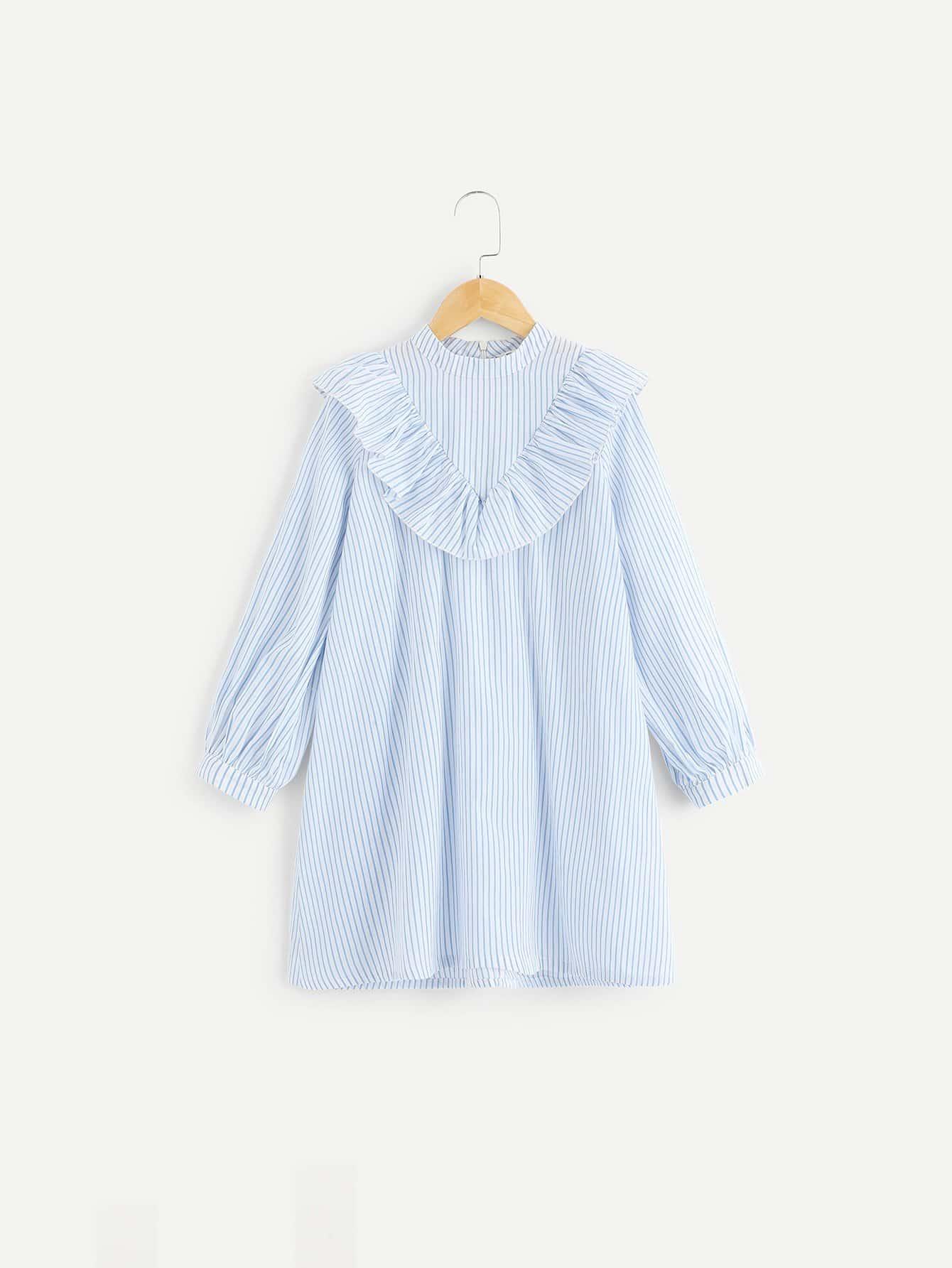 Купить Для девочек платье в полоску на молнии сзади с оборками, null, SheIn