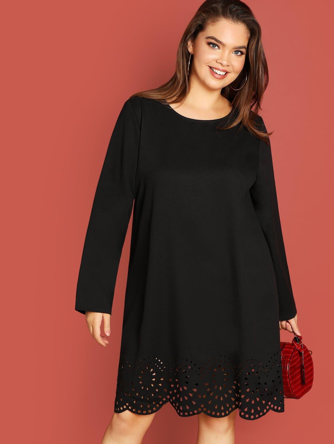 Фото - Плюс размера гребешок лазерная резка платье от SheIn цвет чёрные