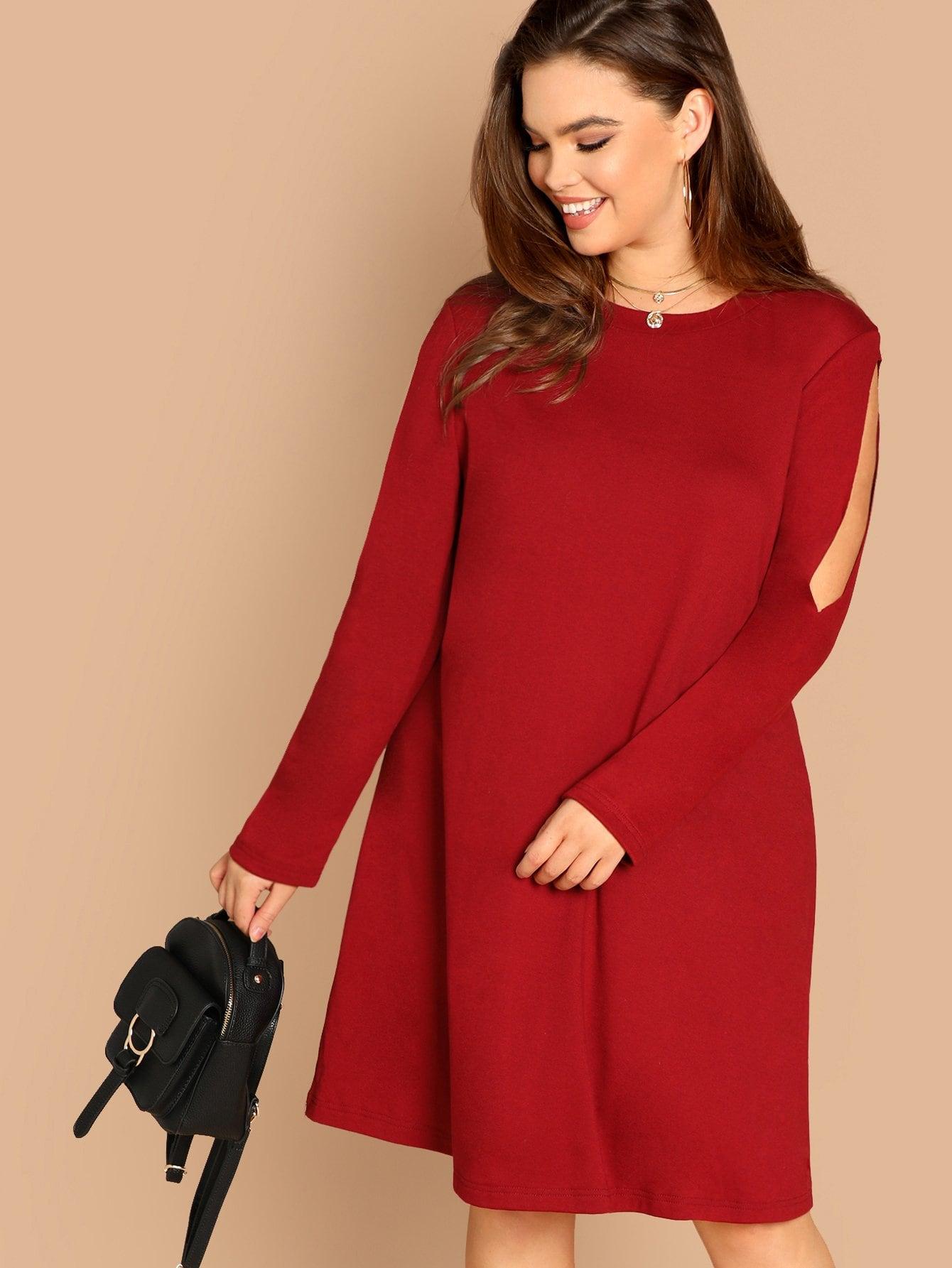 Платье с разрезами на рукавах размера плюс