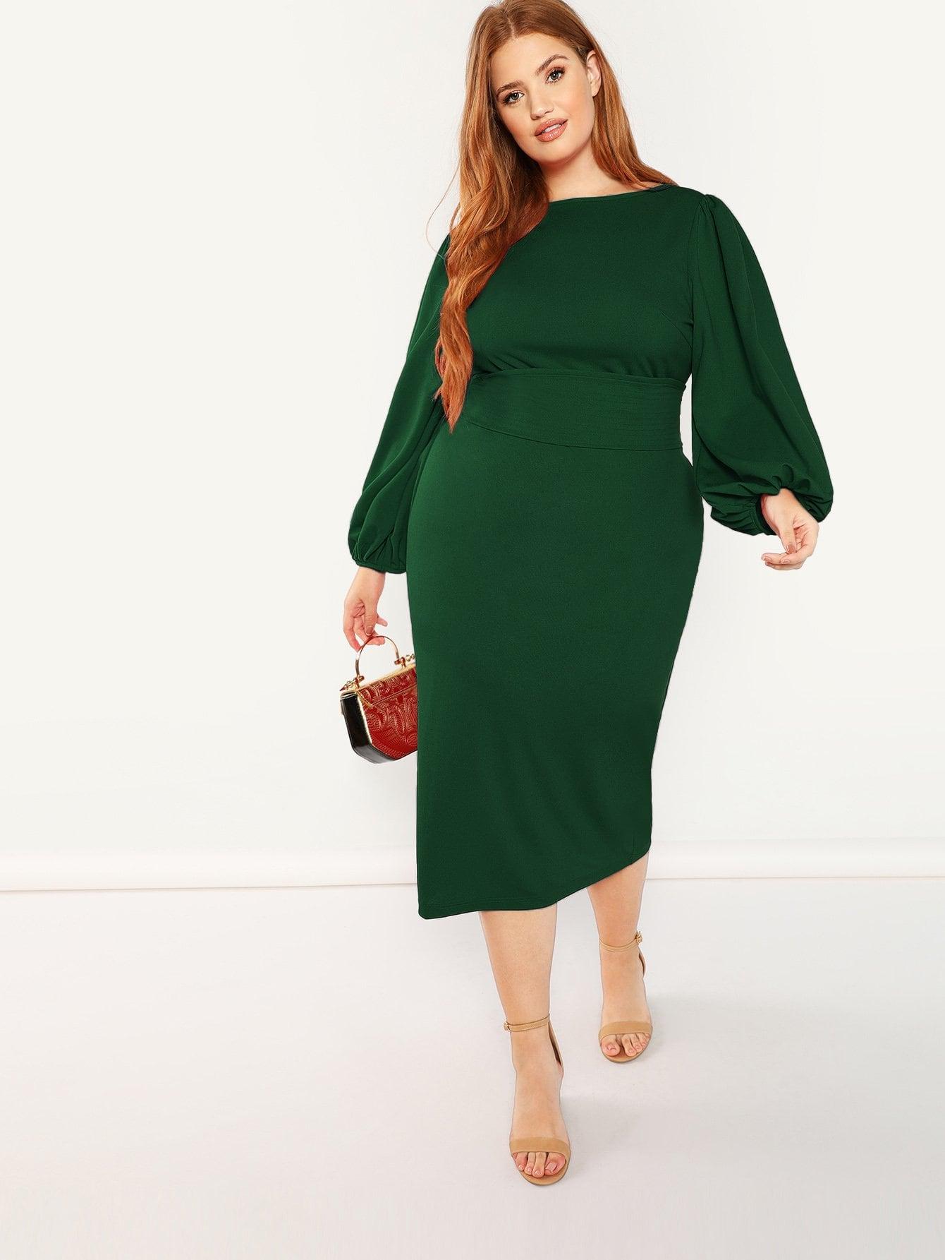 Купить Платье карандаш с поясом размера плюс, Bree Kish, SheIn