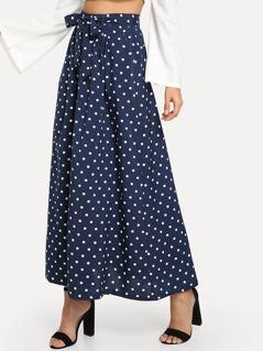 Button Through Polka Dot Skirt With Belt