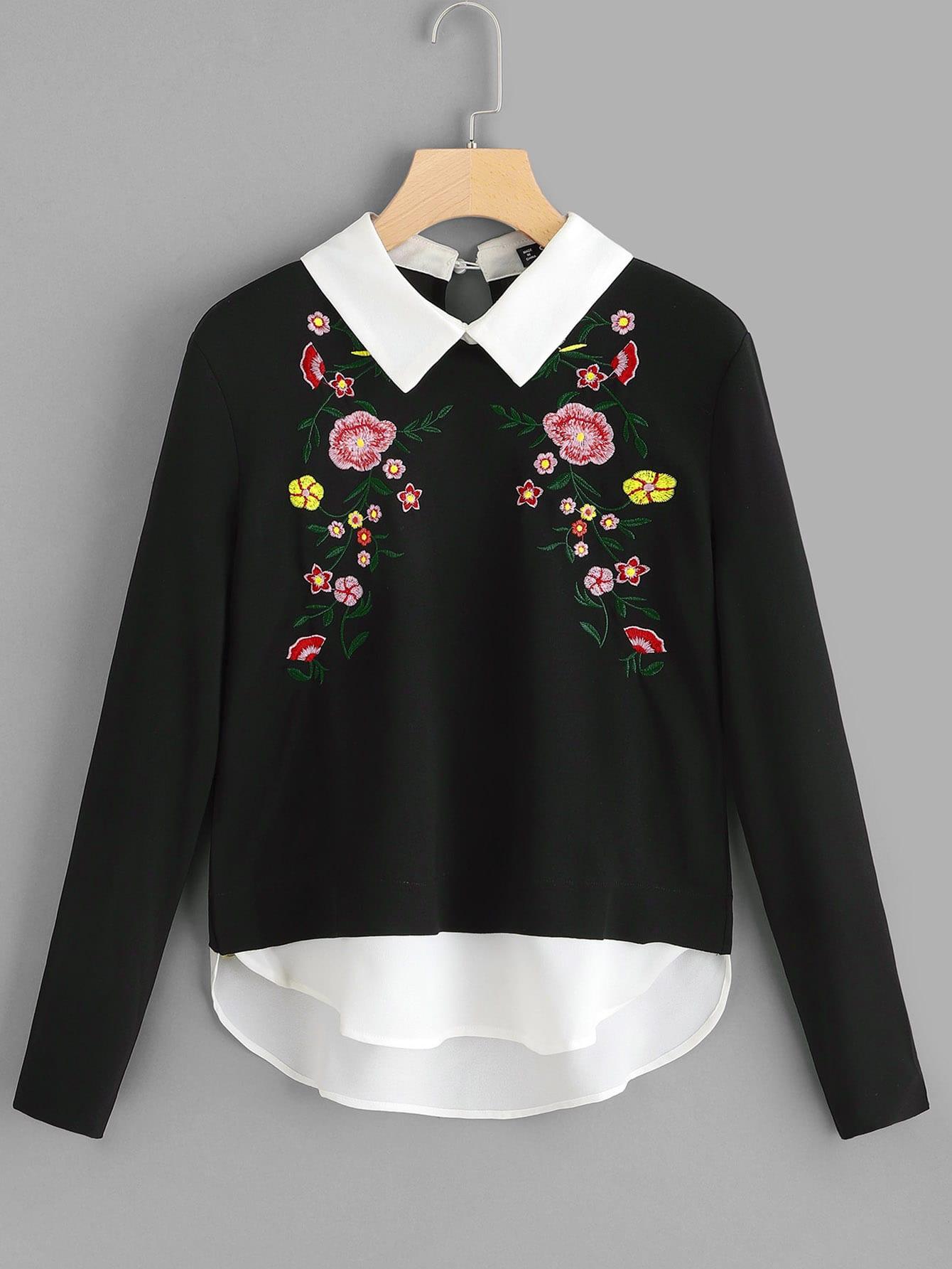 Фото - 2 в 1 свитшот с цветочной вышивкой от SheIn черного цвета
