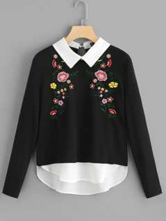 Floral Embroidered 2 In 1 Sweatshirt