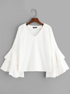 Layered Exaggerate Flounce Sleeve Teddy Top