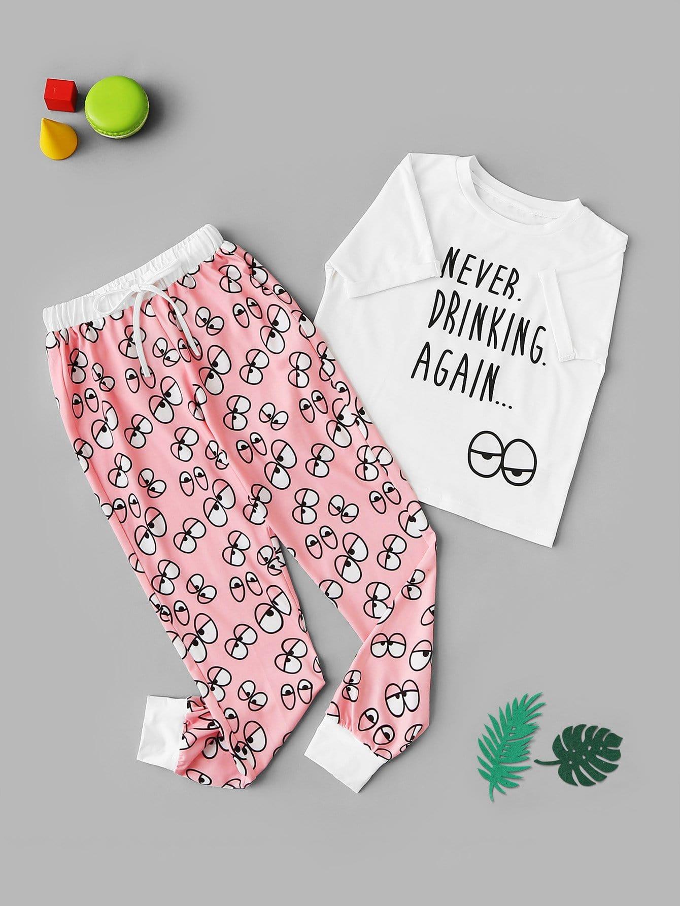 Для девочек пижамы комплект с текстовым принтом от SheIn