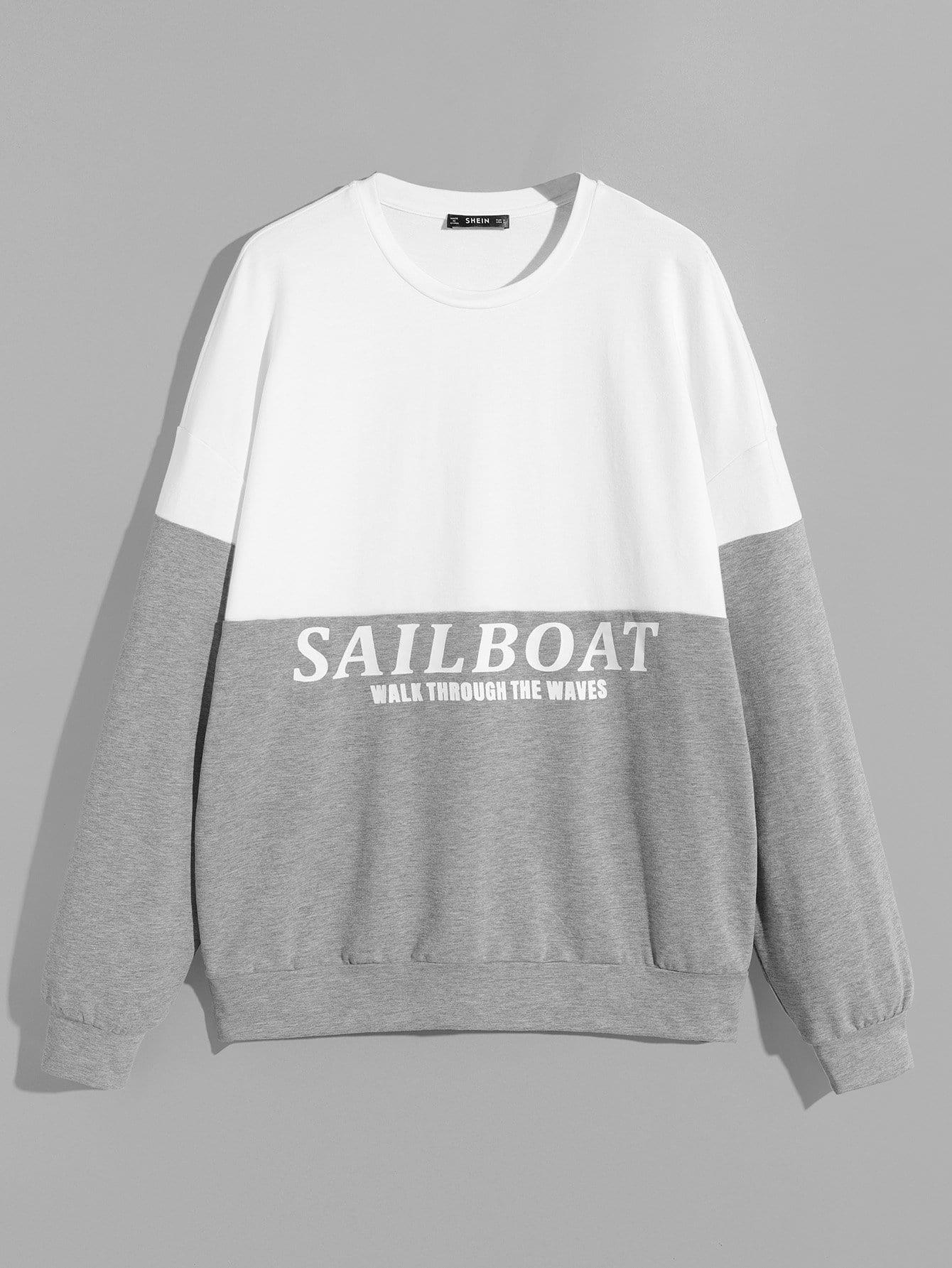 Фото - Контрастный пуловер с текстовым принтом для мужчин от SheIn цвет многоцветный