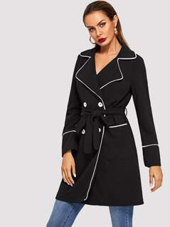 Contrast Binding Double Breasted Belted Coat