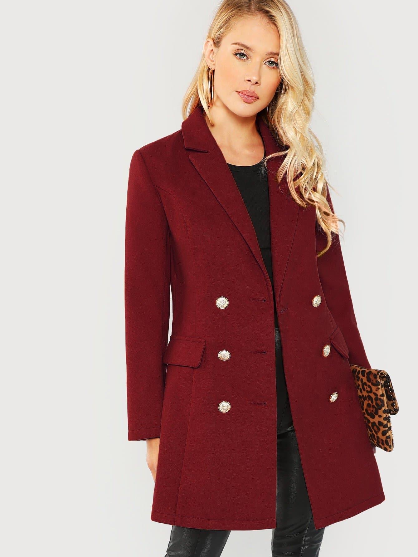 Купить Двубортное однотонное пальто с зубчатым воротником, Allie Leggett, SheIn