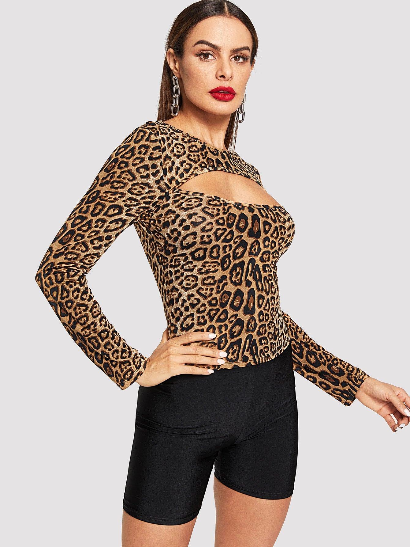 Купить Открытой передней леопардовая футболка, Andy, SheIn