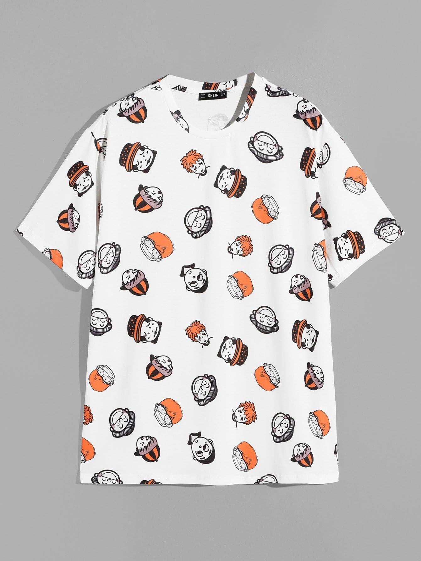 Купить Для мужчин туника футболка с принтом мультфильма, null, SheIn