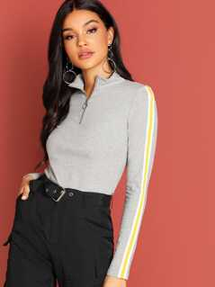 Zip Front Ribbed Knit Mock-Neck Tee