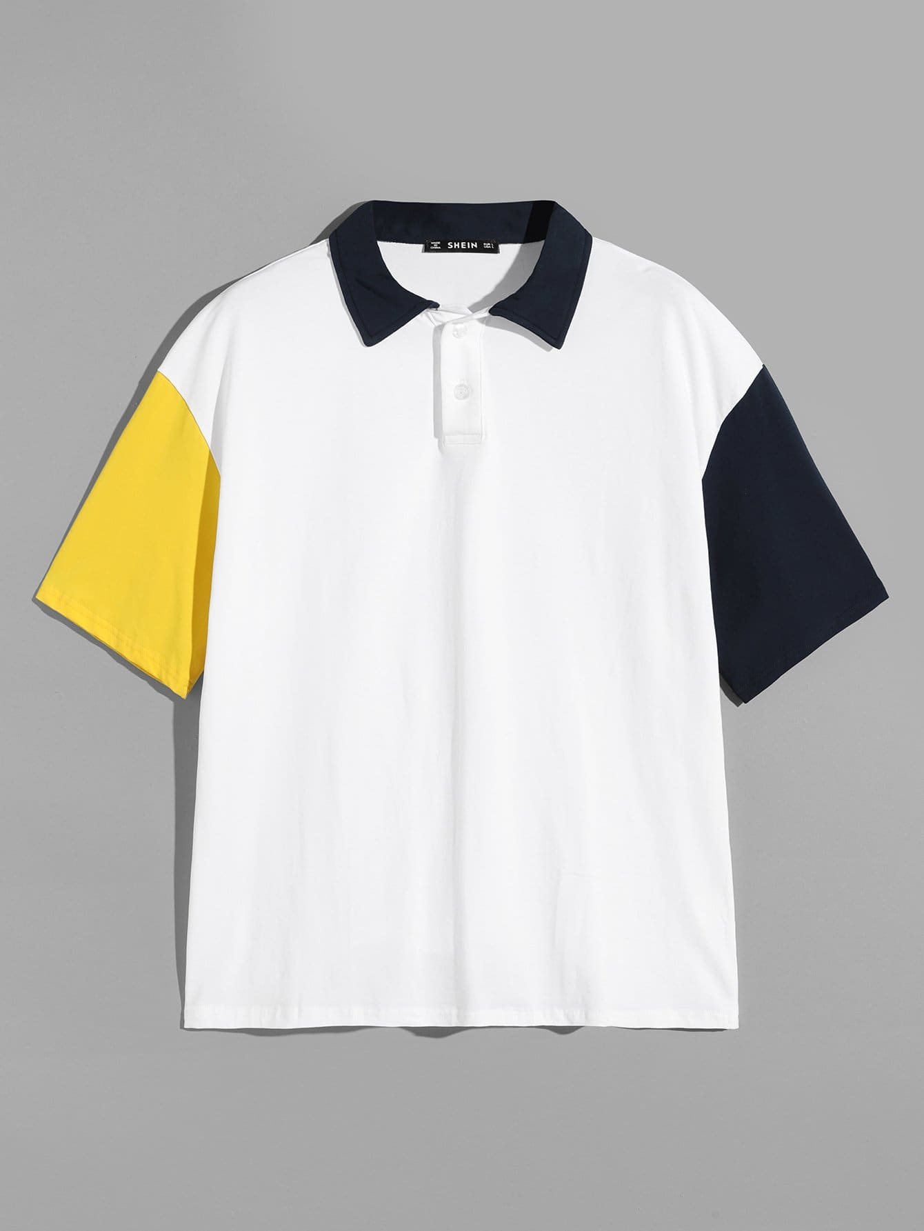 Фото - Для мужчин контрастная поло-рубашка от SheIn белого цвета
