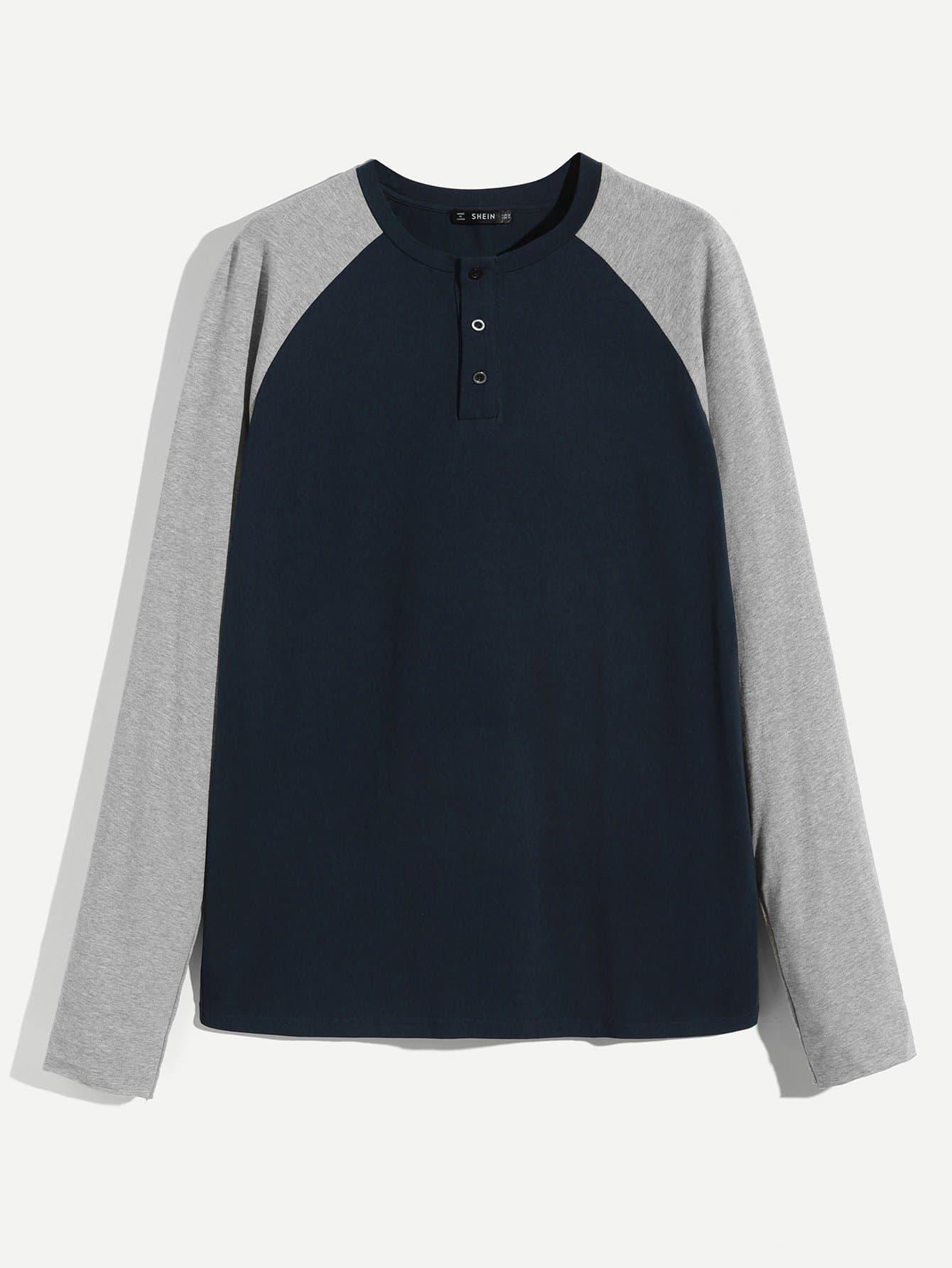 Купить Для мужчин футболка на пуговицах с регланом-рукавом, null, SheIn