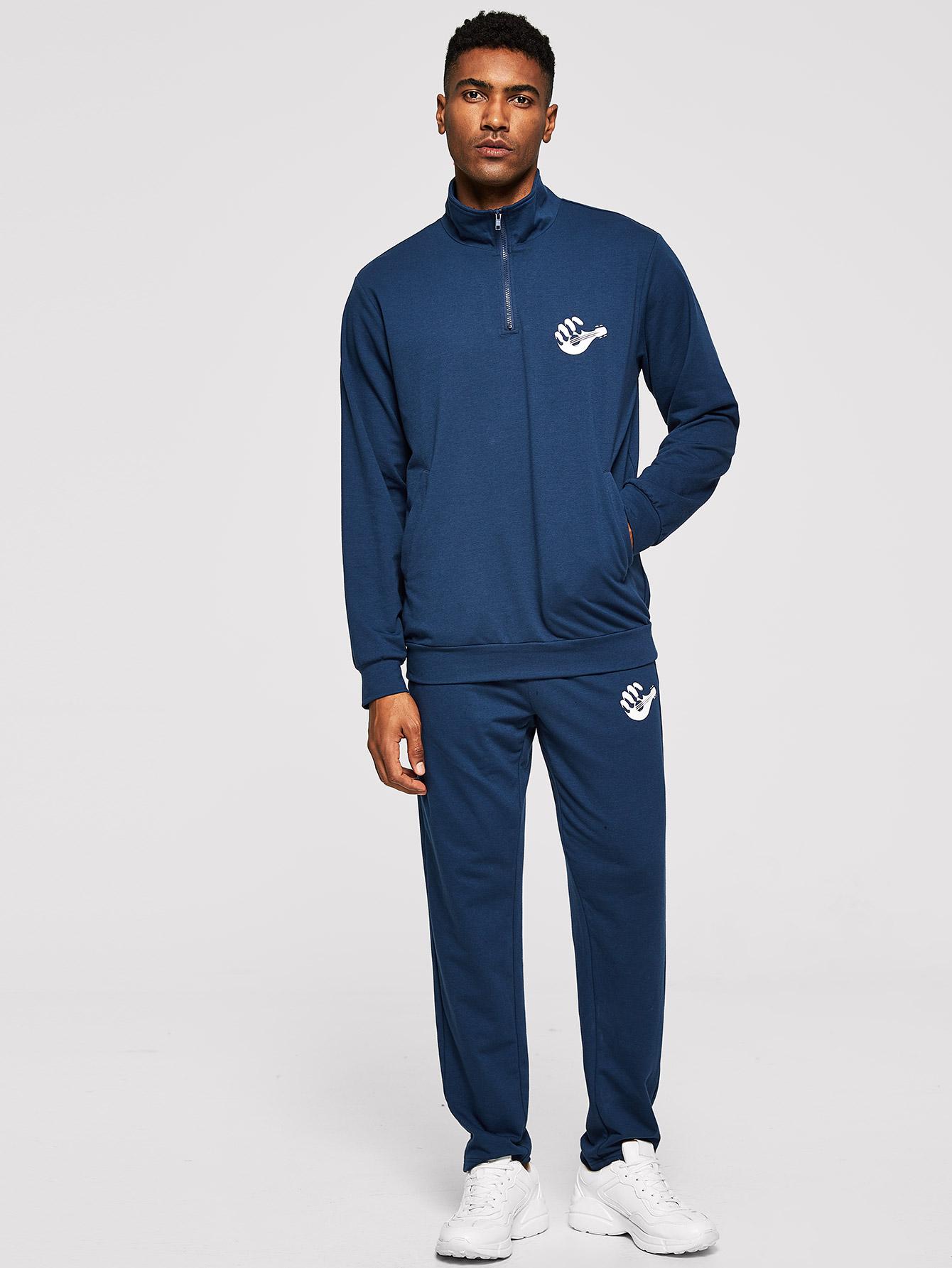 Фото - Для мужчин пуловер на молнии и брюки комплект от SheIn синего цвета