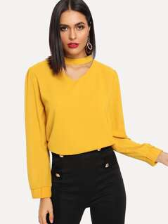 V Cut Choker Neck Solid Blouse