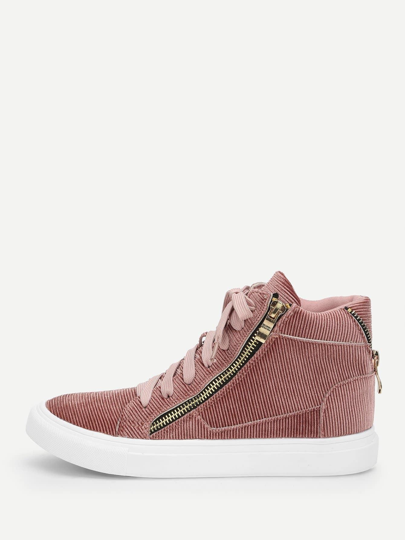 Купить Высокие кроссовки на шнуровке с молнией, null, SheIn