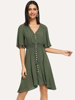 Shirred Waist Button Up Dress