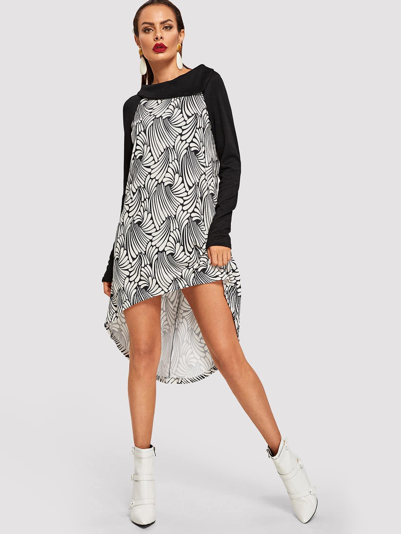 Платье с ботаническим принтом с асимметричным низом