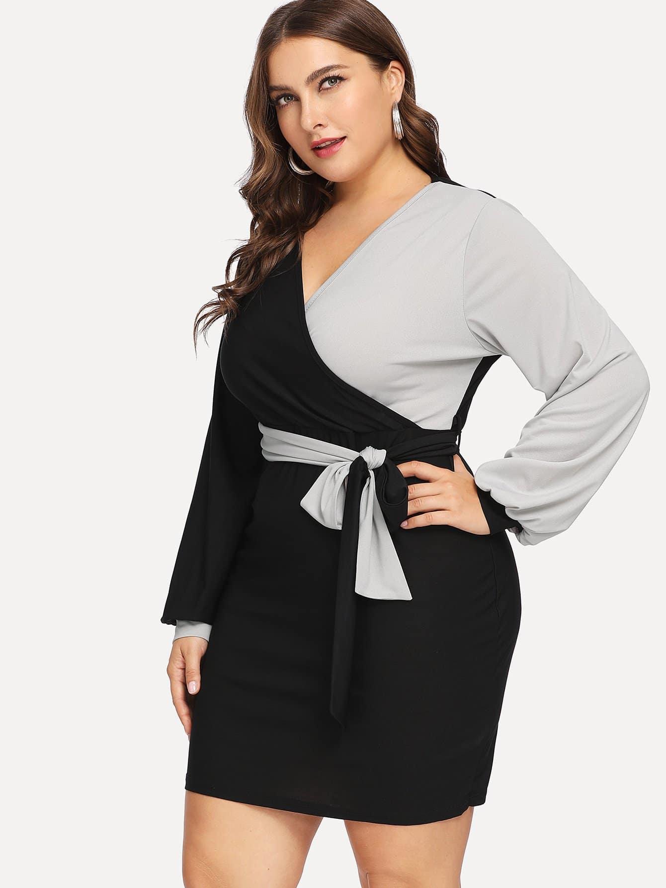 Купить Двухцветное платье с глубоким вырезом размера плюс, Franziska, SheIn