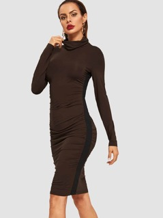 High Neck Solid Drape Dress