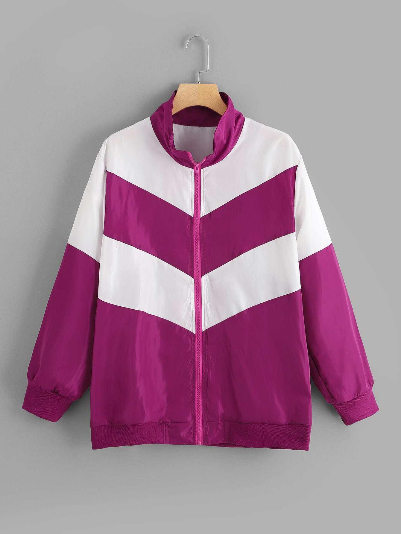 Купить Плюс размеры разноцветная куртка, null, SheIn