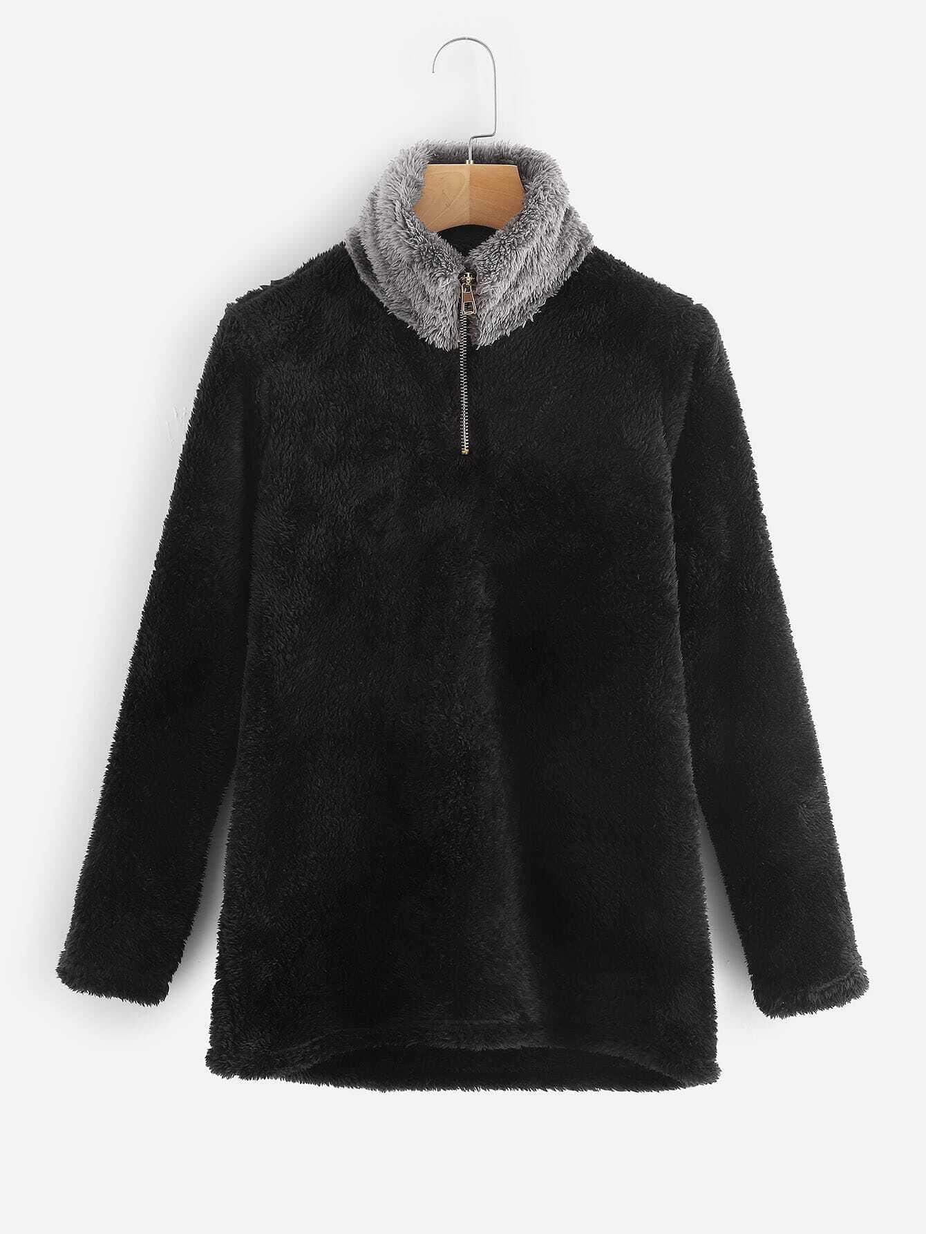 Фото - Плюс размера плюшевая куртка на молнии от SheIn черного цвета