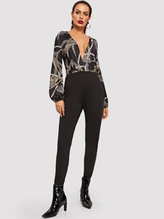 Graphic Print Surplice Wrap Jumpsuit