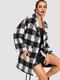Notched Collar Gingham Coat