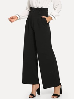 Button Detail Pleated Solid Pants