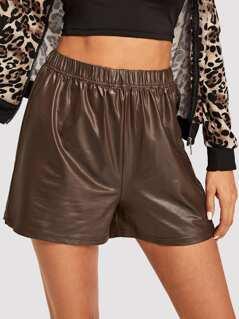Elastic Waist PU Shorts