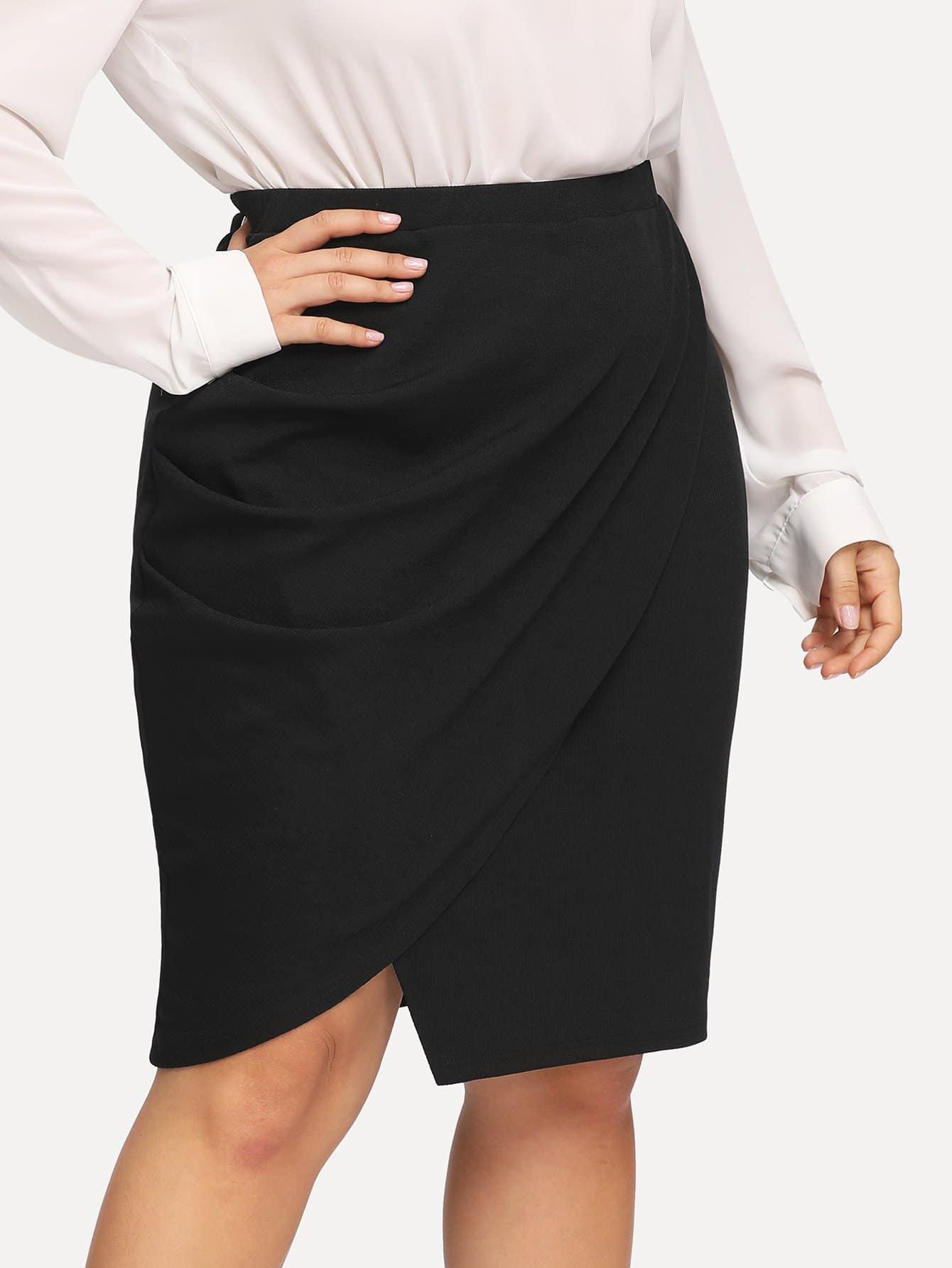 Фото - Плюс размеры одноцветная юбка от SheIn цвет чёрные