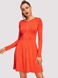 Neon Orange Button Front Solid Dress